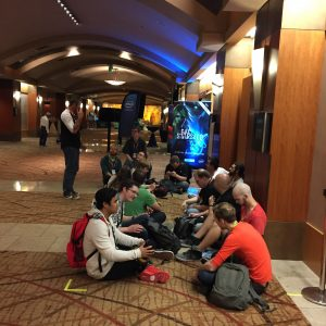 People waiting to play Call of the Starseed at PAX